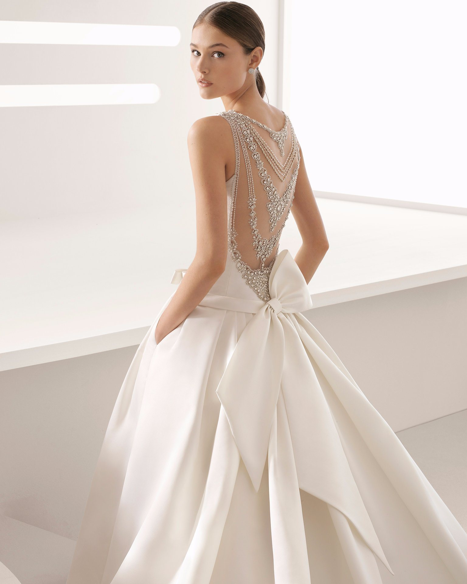 Satin Wedding Dresses with Crystals