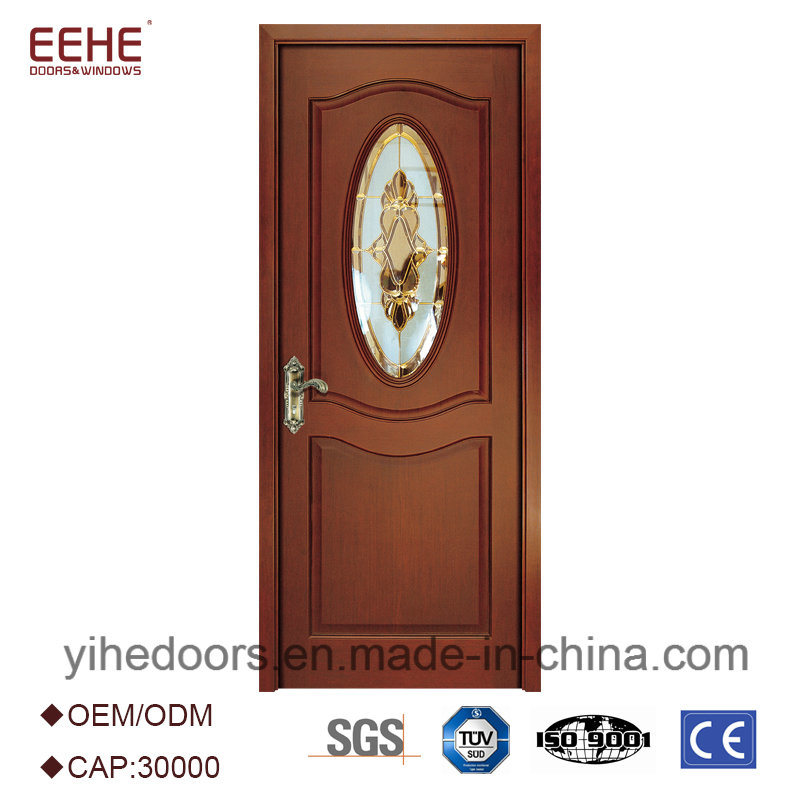 China Modern Design Solid Wooden Door With Decorative Half Glass
