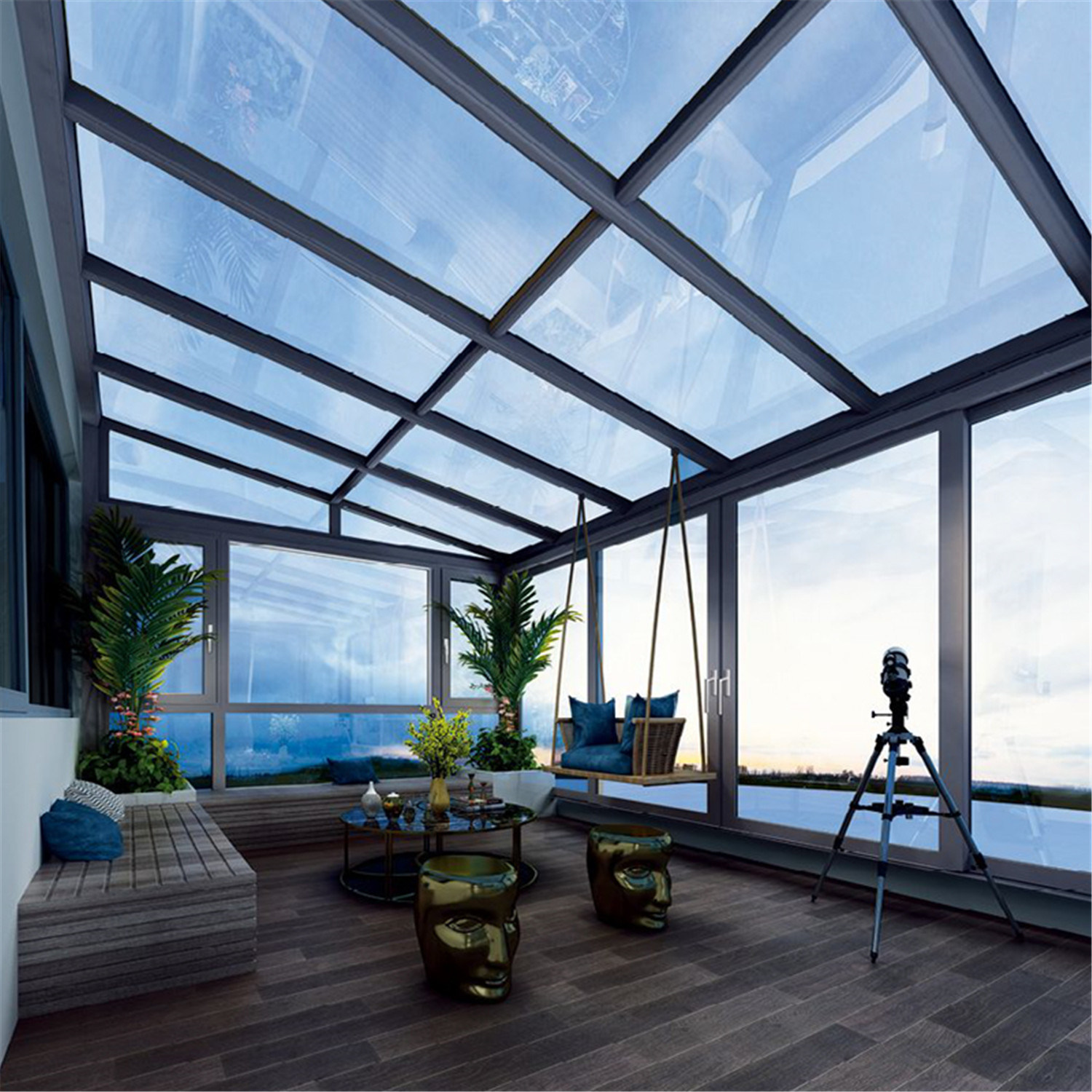 China Aluminum Alloy Frame Material And Tempered Glass Roof Material Garden Conservatory Sunroom Glass Room Garden Room China Sunroom House