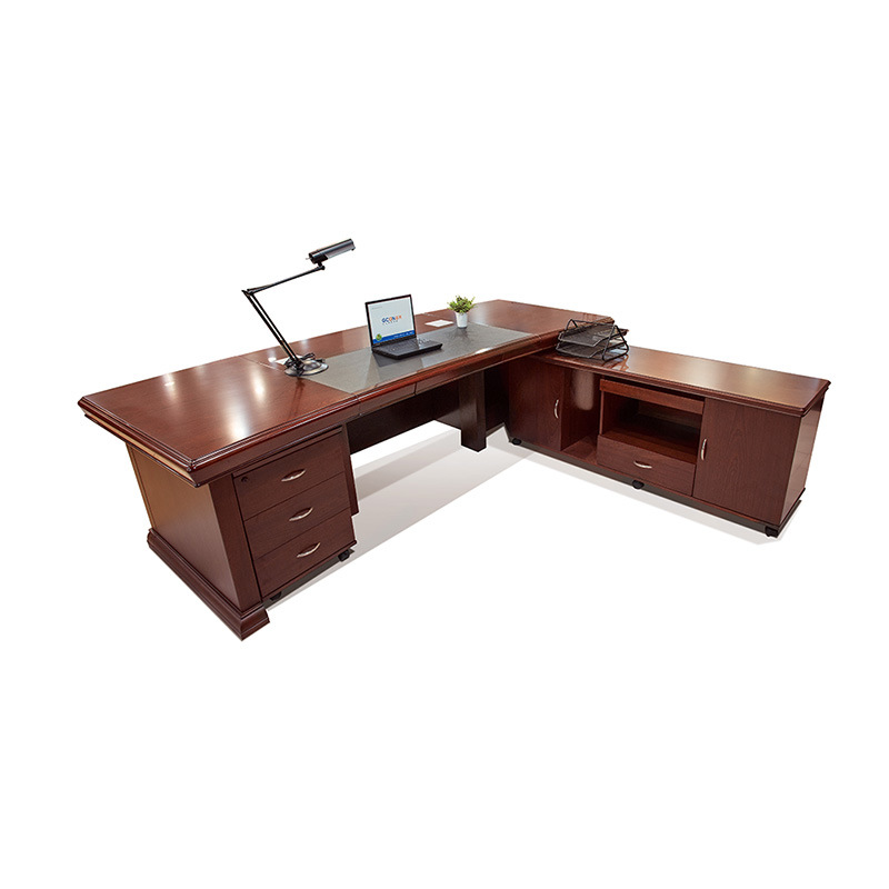 China Walnut Color Ceo Boss Executive Office Desk With Drawers Modern