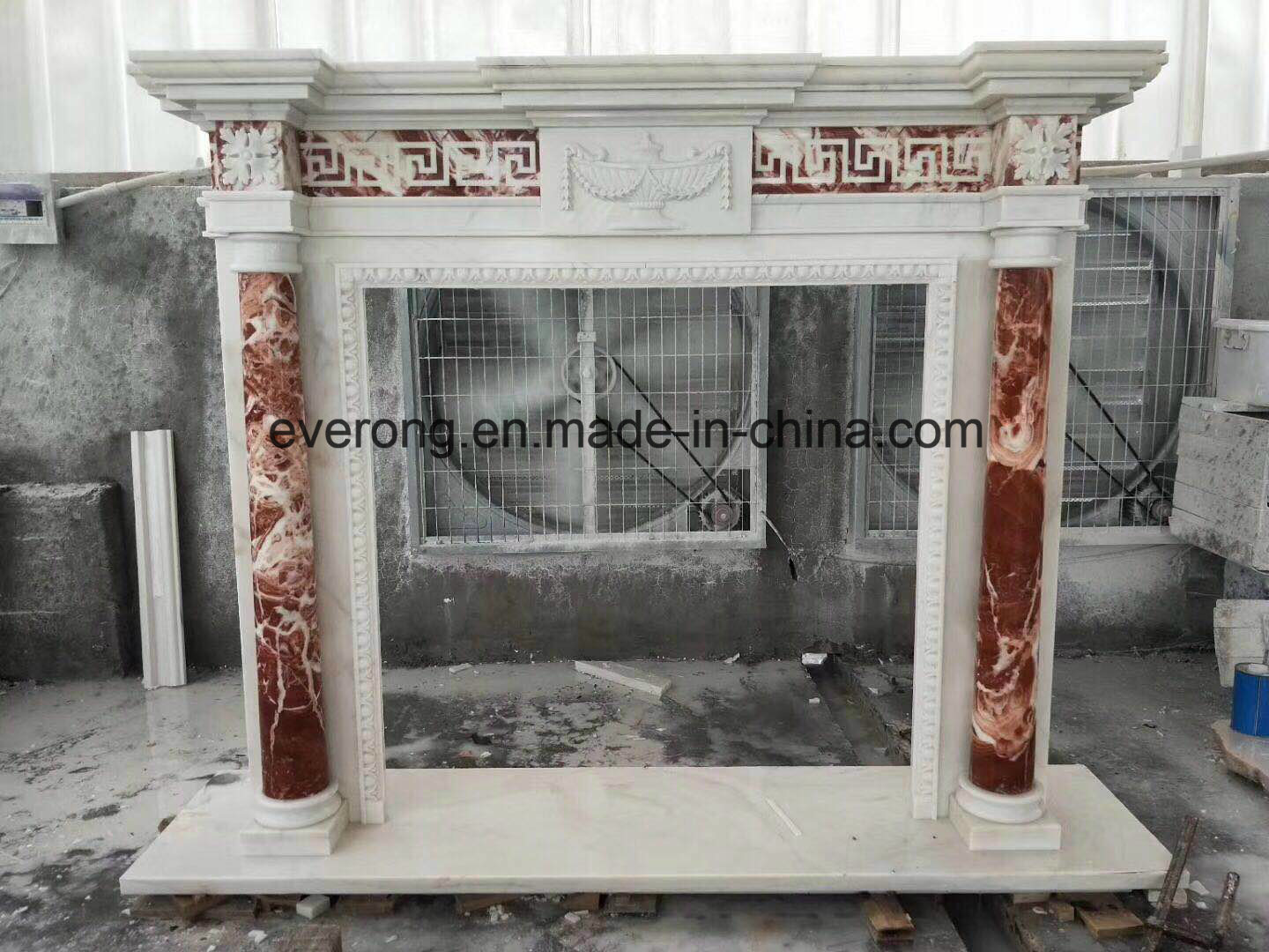 China Fabulous Two Tone Natural Marble Fireplace Surround In White And Red Marble China Marble Fireplace Frame Marble Sculpture Fireplace