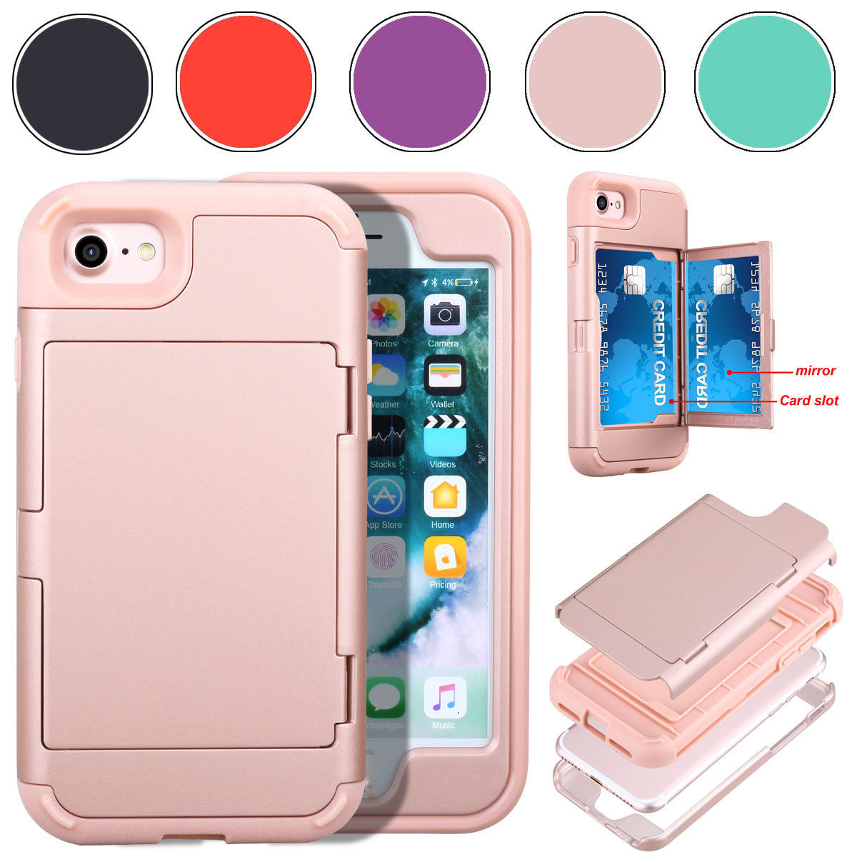 brand new d1da3 a764c [Hot Item] Best Quality Cell Phone Case Mirror Cover Hard with Stand for  iPhone 7/7p