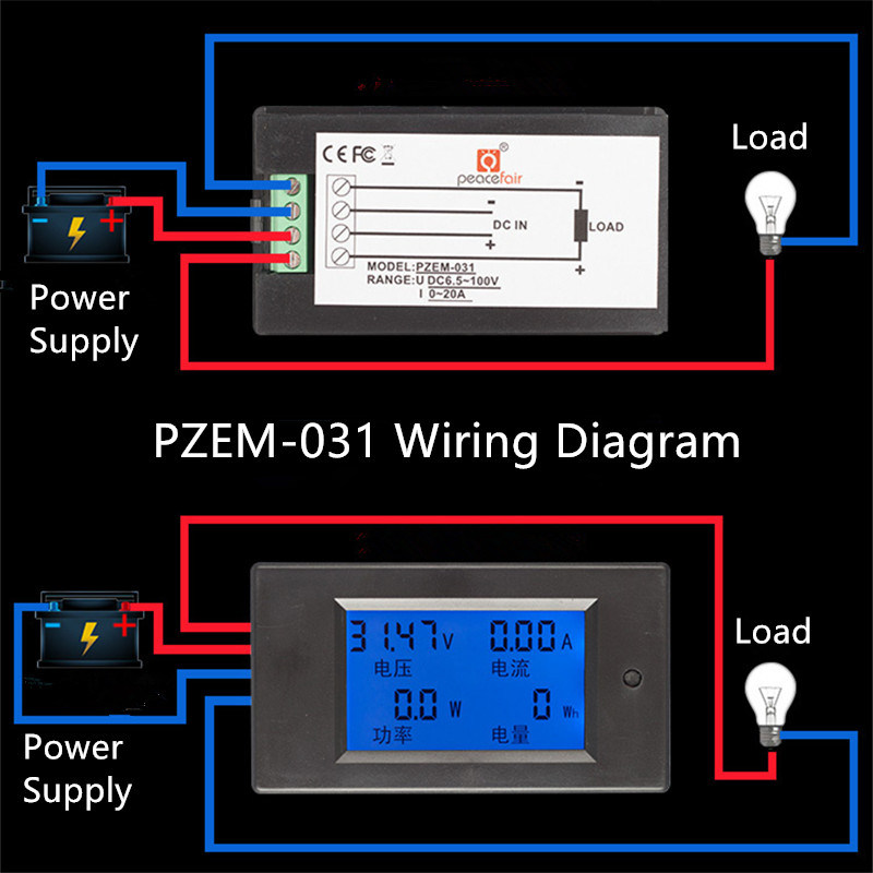 China Pzem-031 DC 6.5-100V 20A 4in1 LCD Voltage Power ... on
