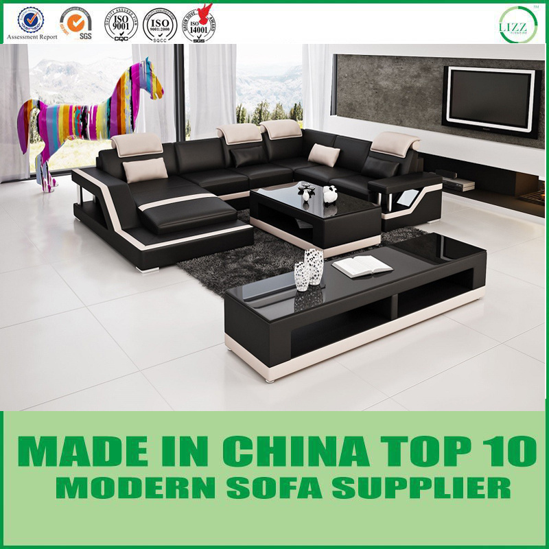 [Hot Item] Sectional Modern Leather Corner Sofa with Chaise Lounge
