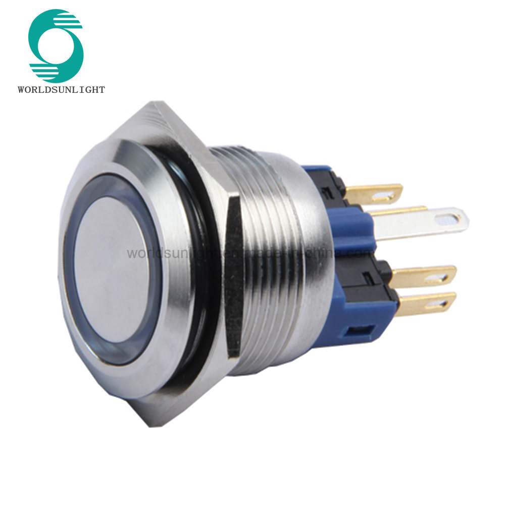 Wholesale Push Button Buy Reliable From Wire Switch Buttonpush Micro 22mm 6pin 1no 1nc Momentary Press Flat Metal Waterproof Stainless Steel Ring Lamp