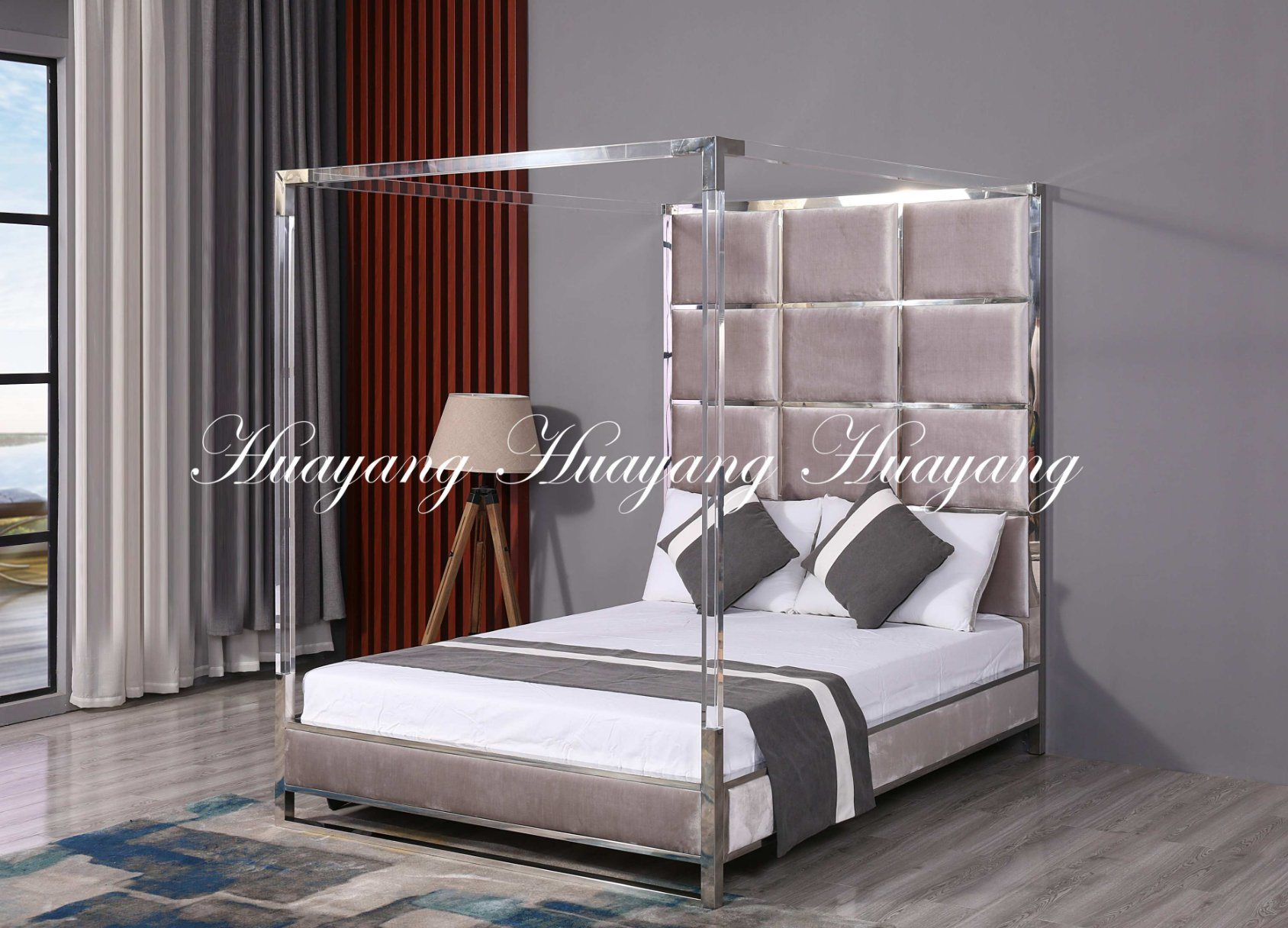 China Double Bed Modern Bed Luxury Stainless Steel Upholstery Bed Furniture China Double Bed Bedroom Bed
