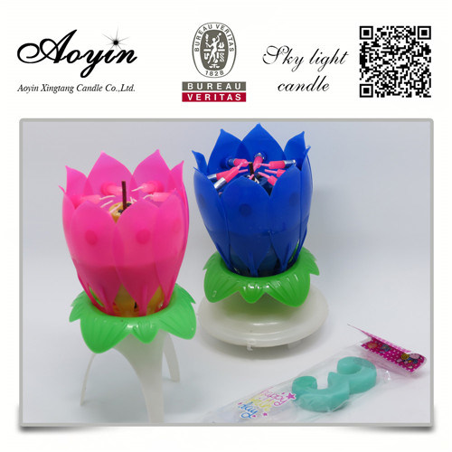 Lotus Flower Music Fireworks Birthday Candle For Party