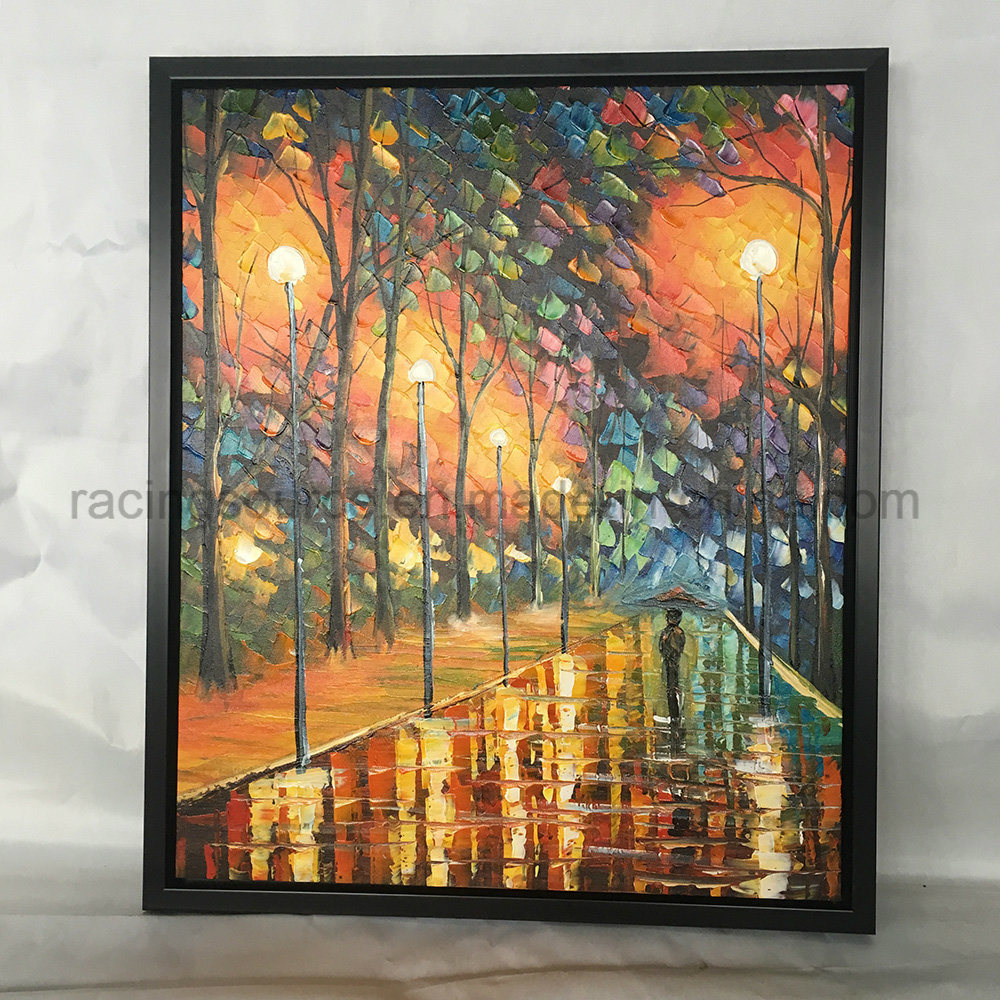 Knife painting landscape canvas painting framed wall art