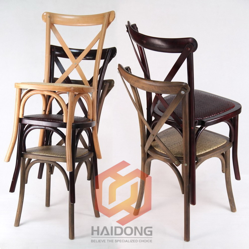 [Hot Item] Stackable Natural Beech Wood Cross X Back Dining Chairs
