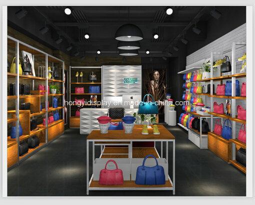 China Wooden Adjustable Handbag Display Stand For Bag Shop Design