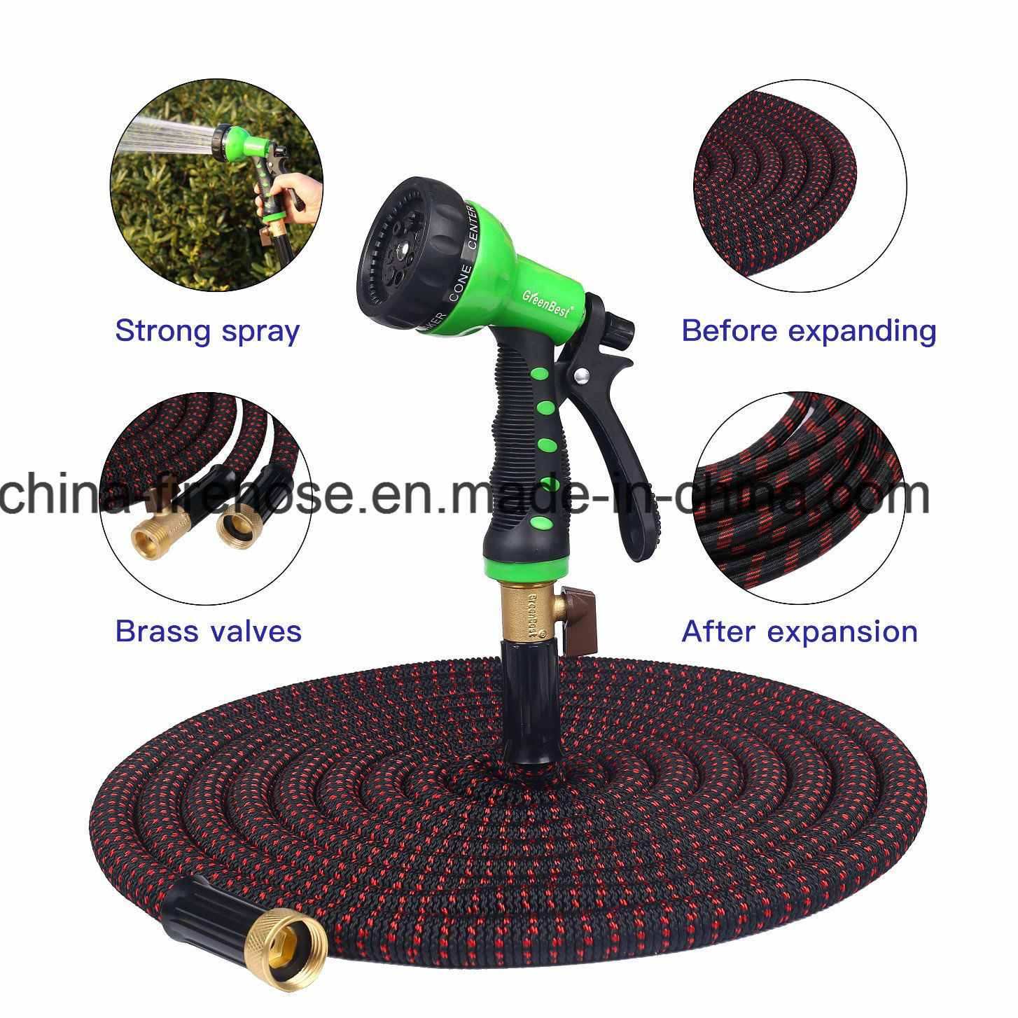 Newest 2017 50FT Expandable Garden Hose - Guaranteed by Best 12 Month Warranty Available- Strongest Brass Connections - Free Gift 7 Pattern Spray Nozzle - No Ki