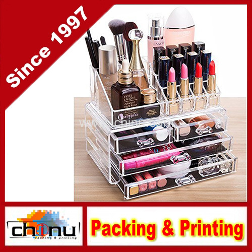 4 Drawers And 16 Grid Makeup Organizer With Cosmetic Storage Cases, The Top  Of The Almighty As A Display Make Up Brush And Lipstick Holder