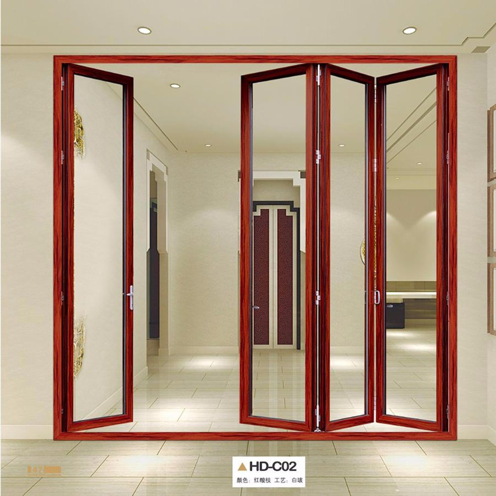 China Unbreakable Commercial Glass Folding Patio Doors With Aluminum