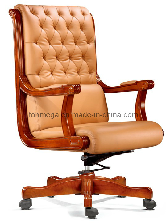 Hot Item Chesterfield Design Classic Office Executive Chair Wooden Armrest Leather Executive Chair Foha 58