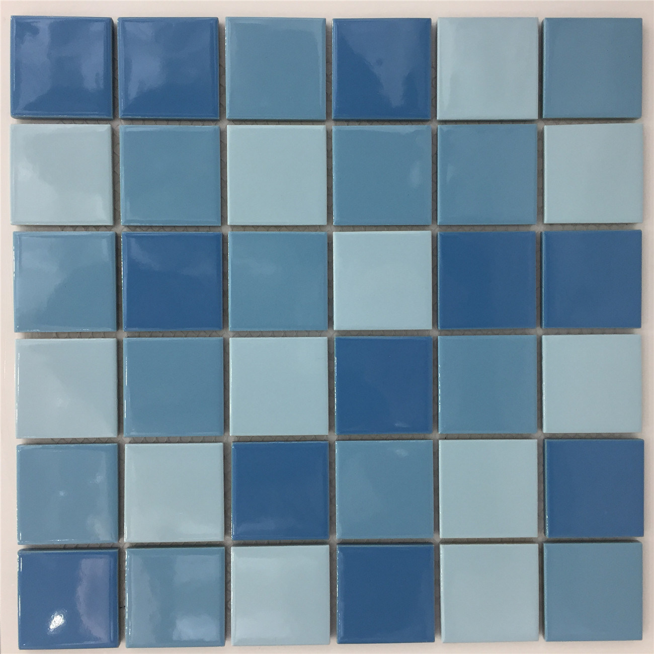 China Thickness 6mm Blue Color Bathroom Swimming Pool Ceramic Mosaic ...