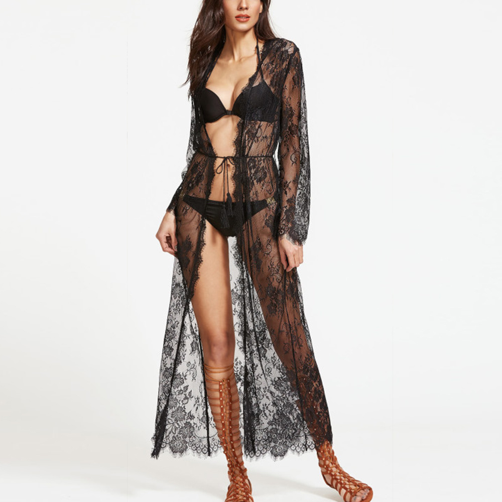 Hot Item Women See Through Sheer Lace Maxi Dress Sexy Nightwear Robe