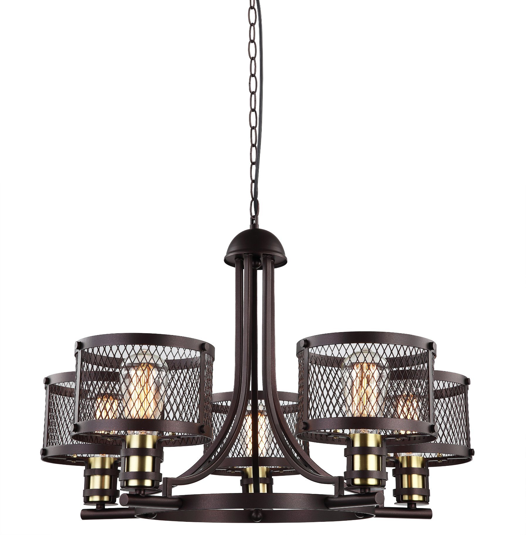 Hot item loft industrial iron chandelier with 5 metal shades