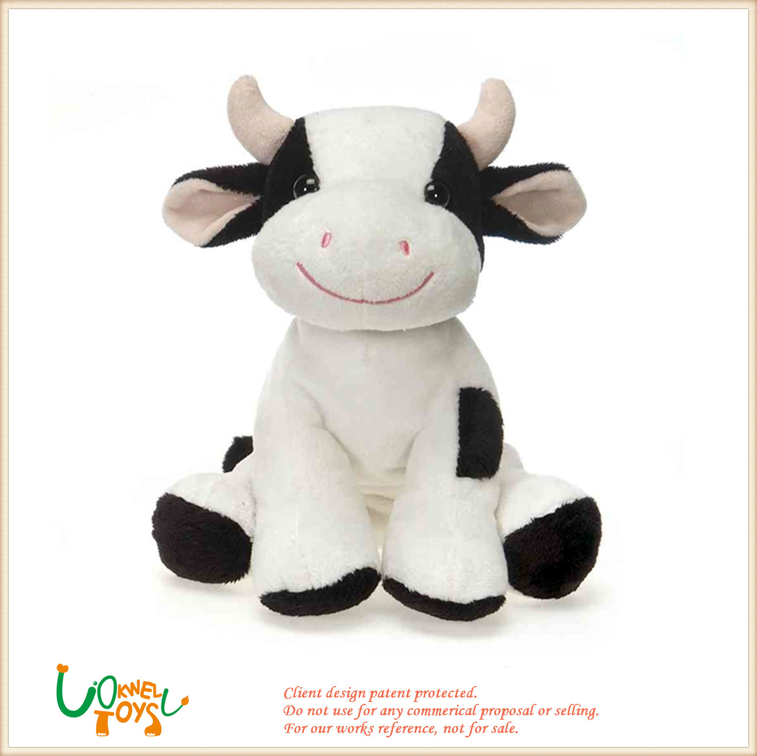 China Plush Stuffed Lovely Animal White And Black Cow Cattle Doll
