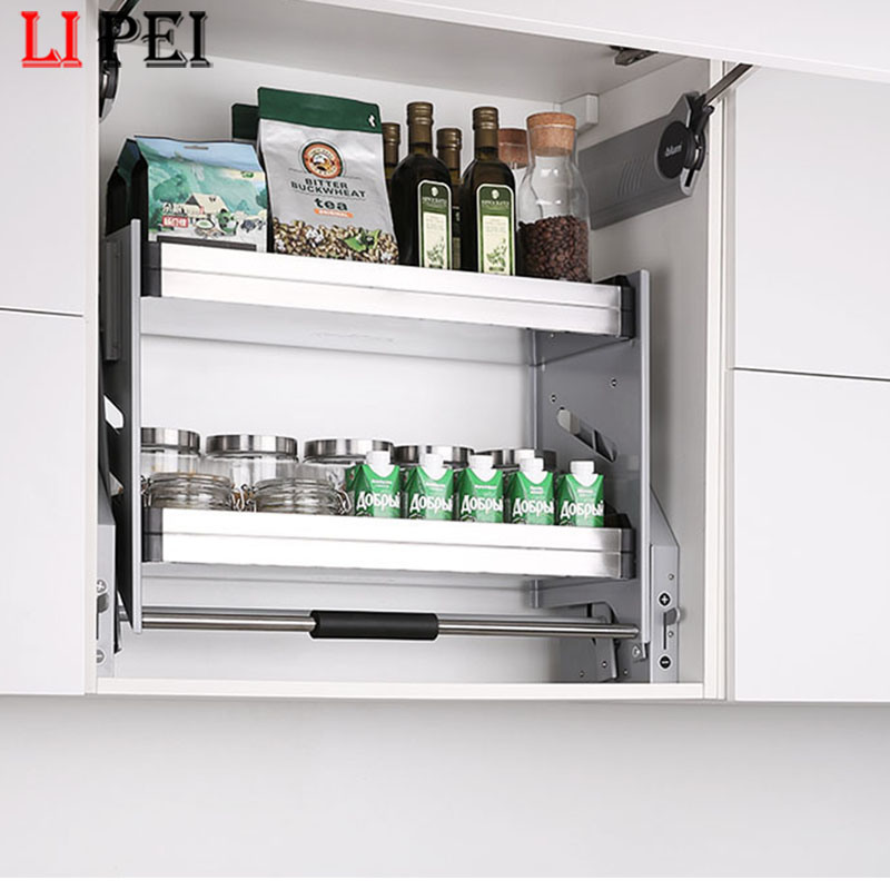 China Adjustable Creative Hidden In Kitchen Cabinet Accessories Baskets Pull Down Shelf Lift Up Shelving System Elevator Basket China Kitchen Rack And Spice Rack Price