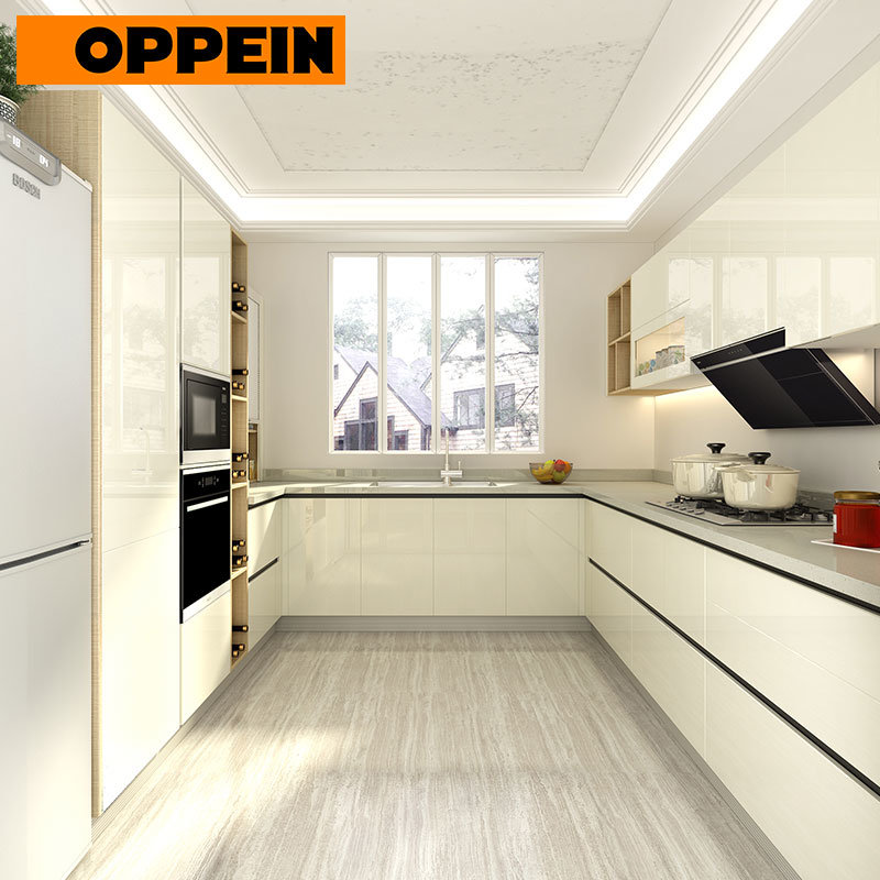[Hot Item] Soft Close and Push to Open Handle-Less Glossy Lacquer Kitchen  Cabinets (OP18-L01)