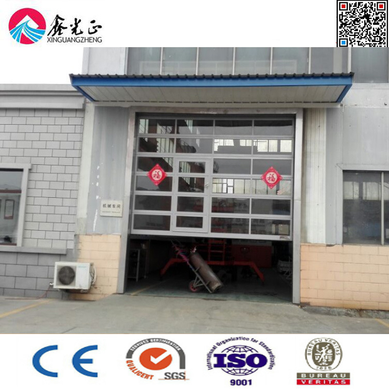 China Automatic Electric Vertical Lift Overhead Door With Glass