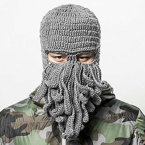 Unique Octopus Mask Handmade Knitting Knitted Winter Hat