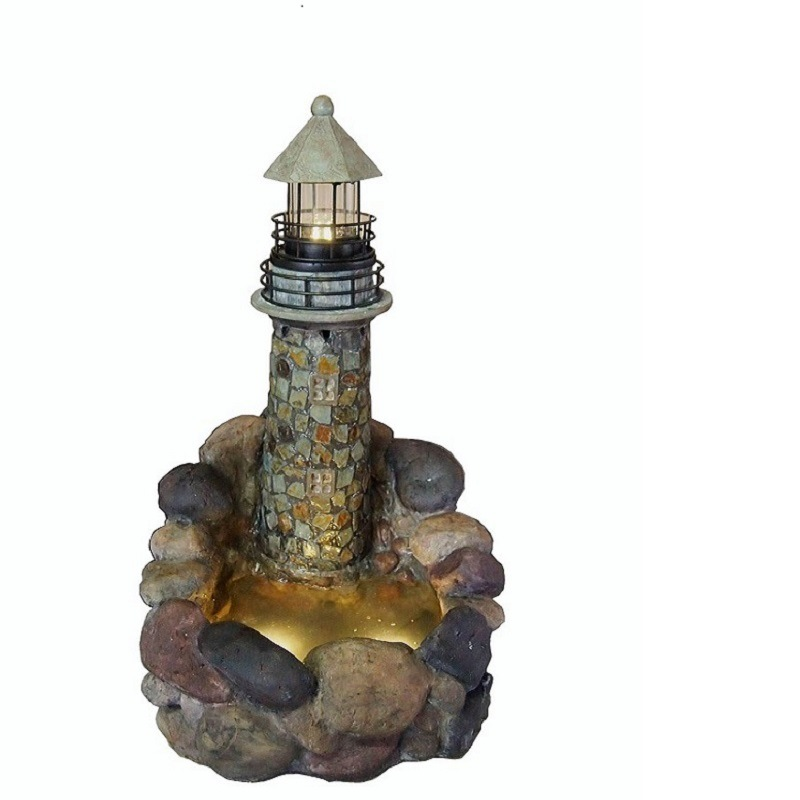 2 in 1 Resin & Stone Fountain with Lighthouse