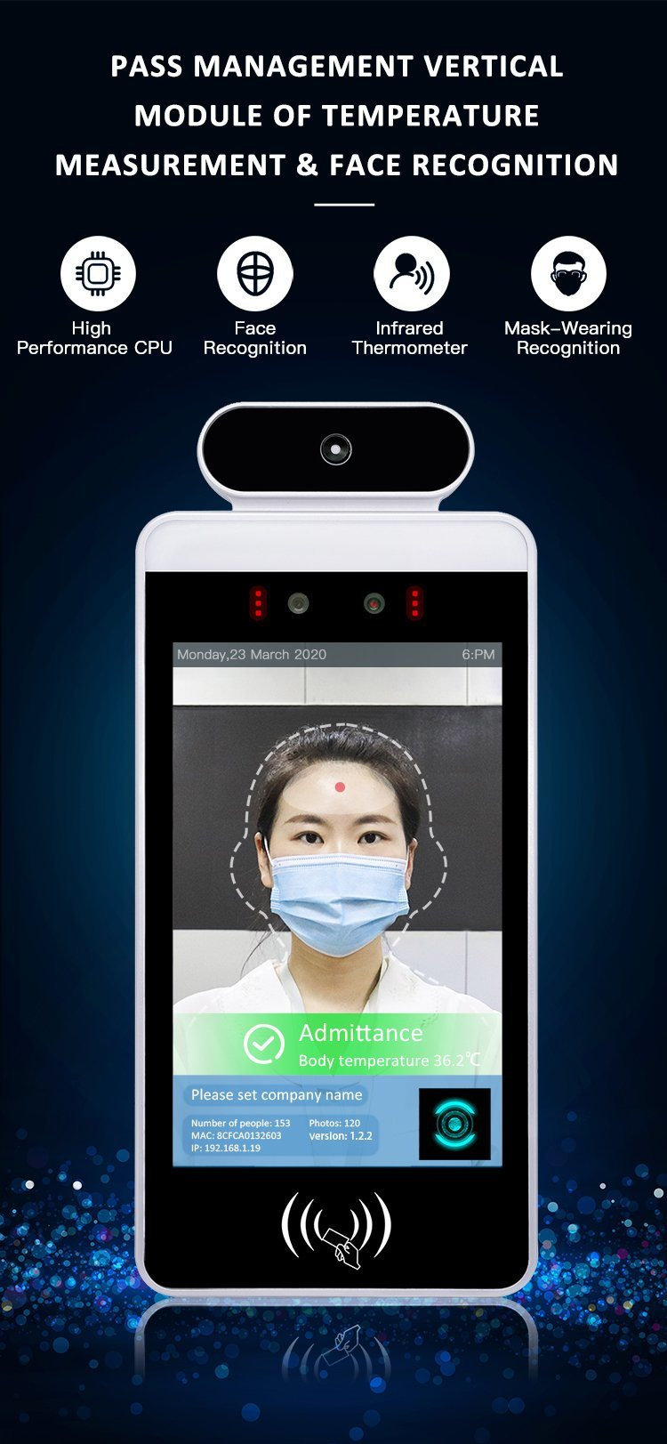 Multi-Language LIQIU Intelligent Face Recognition Temperature Measuring System 8 Inch LCD Full Screen Access Control Punch Card Machine for Office Building Attendance Management Platform