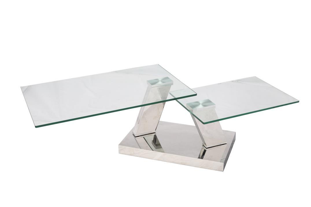 Stainless Steel Folding Coffee Table with Tempered Glass Top
