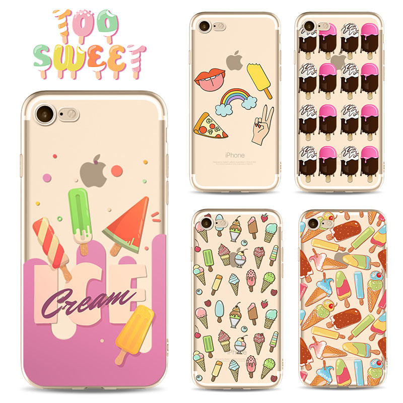 new style aaf22 e60bb [Hot Item] Colourful Popsicle Ice Cream Summer Cell Soft TPU Clear Phone  Case for iPhone X 6s 6 7 8 Plus Phone Cartoon Cover DIY Soft Cases Ypf59