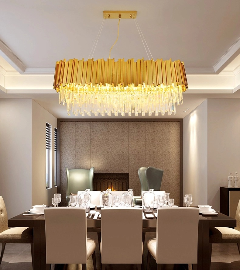 China Dinner Room Vintage Post Modern Luxury Lampadari Metal Gold Lustre En Rectangular Crystal Chandelier Lamp For Home Dining Room Photos Pictures Made In China Com