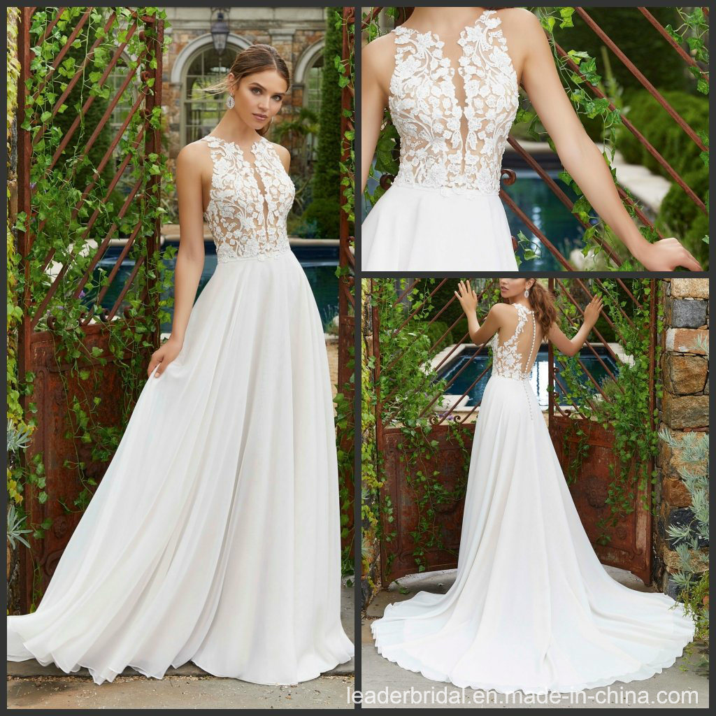 A Line Wedding Dresses.Hot Item A Line Bridal Gowns Nude Bodice Chiffon Beach Lace Wedding Dress M5703