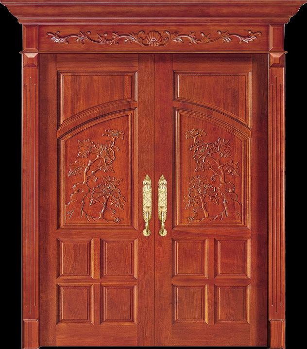 China Luxury Teak Wood Double Door Design (CL-2047) Photos ...