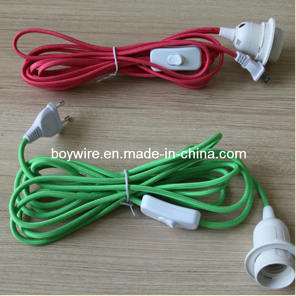 Cloth Covered Wire Fabric Lamp Cord Set with Plug VDE