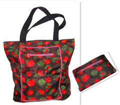 Ladies Flower Fashion Handy Tote Bag Color Zipper