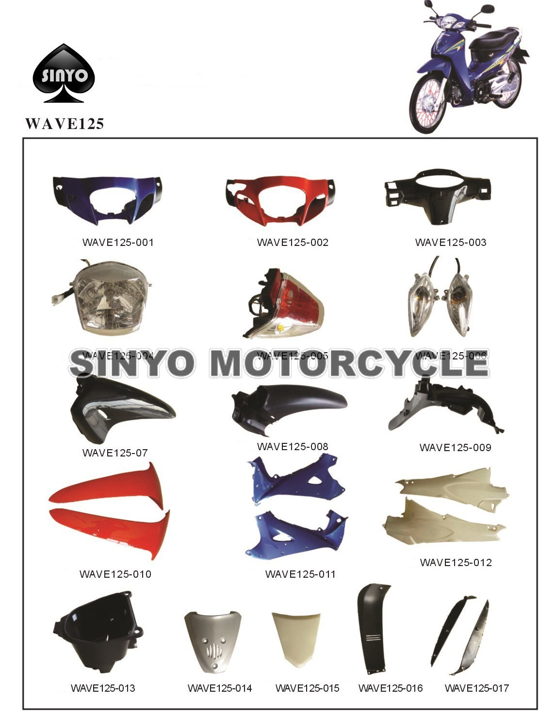 China New Wave125cc Cub Motorcycle Spare Parts For Honda China Spare Parts Accessories