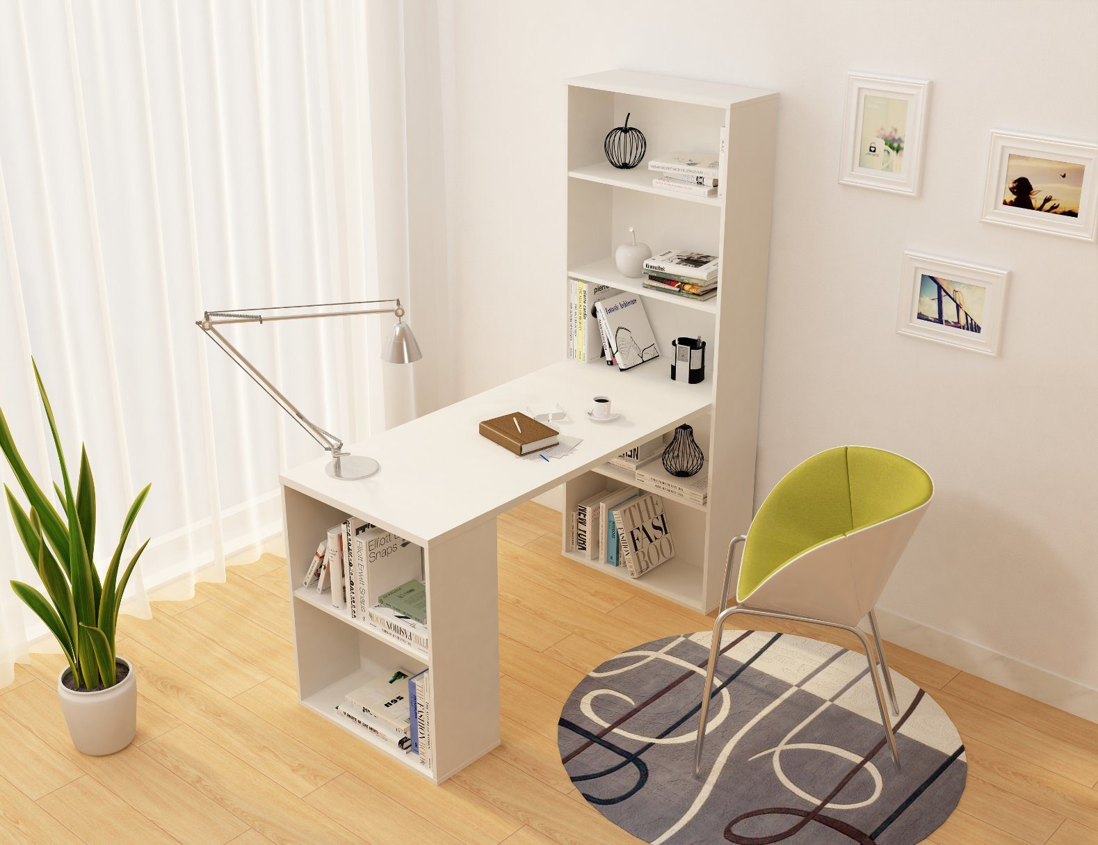 China Factory Office Furniture Wooden Computer Table Desk With Bookshelf Modern