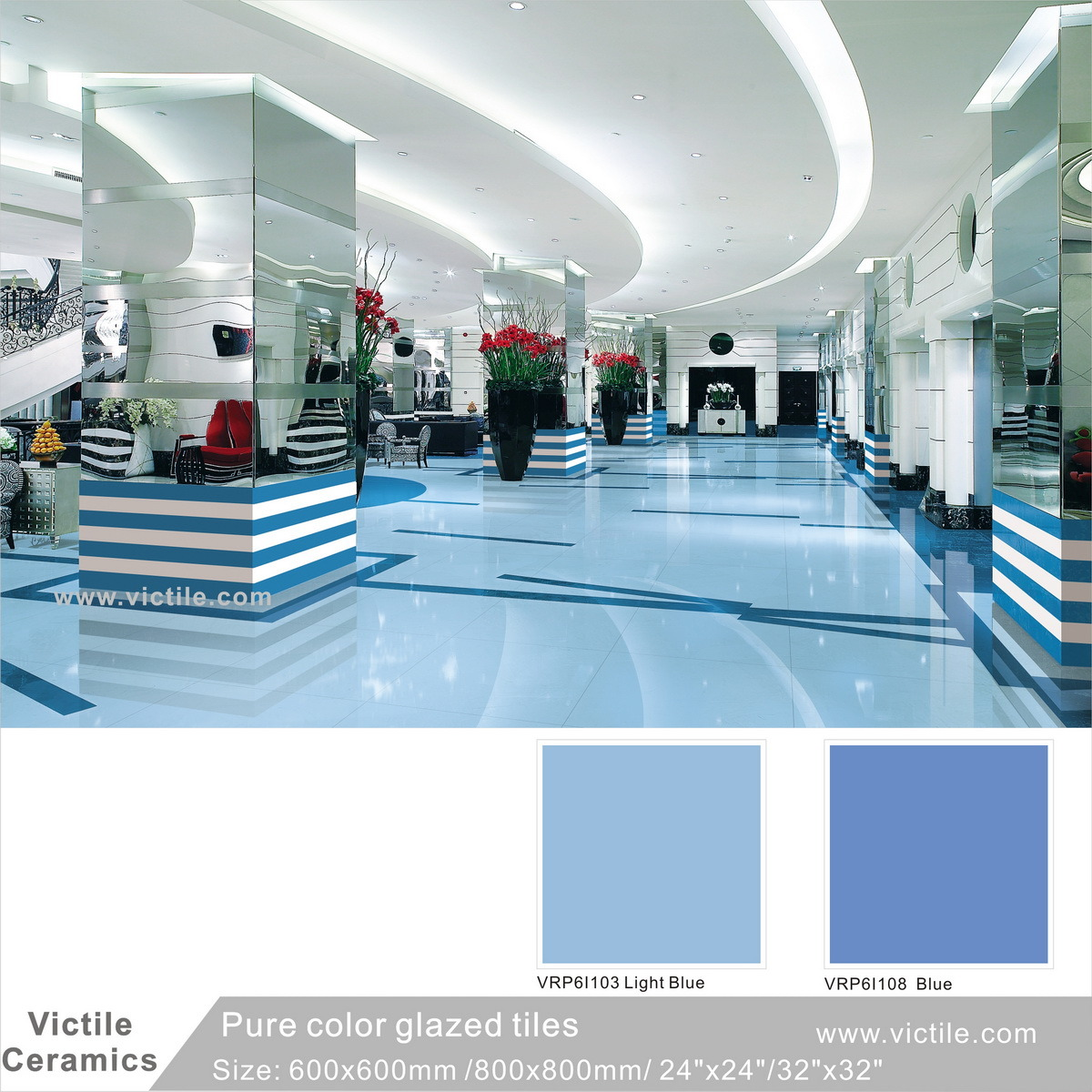 China Foshan Building Material Ocean Blue Glazed Marble Polished ...
