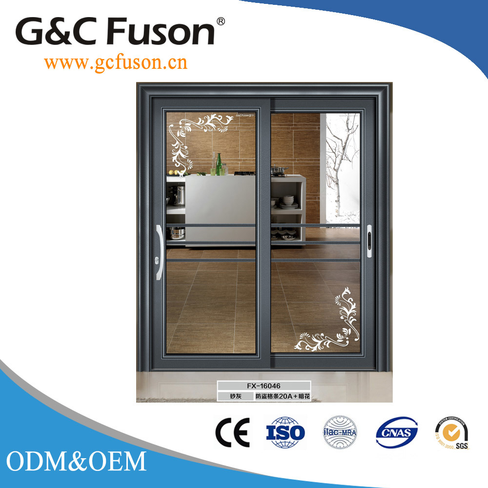 China White Aluminium Frame Sliding Door With Stainless Steel