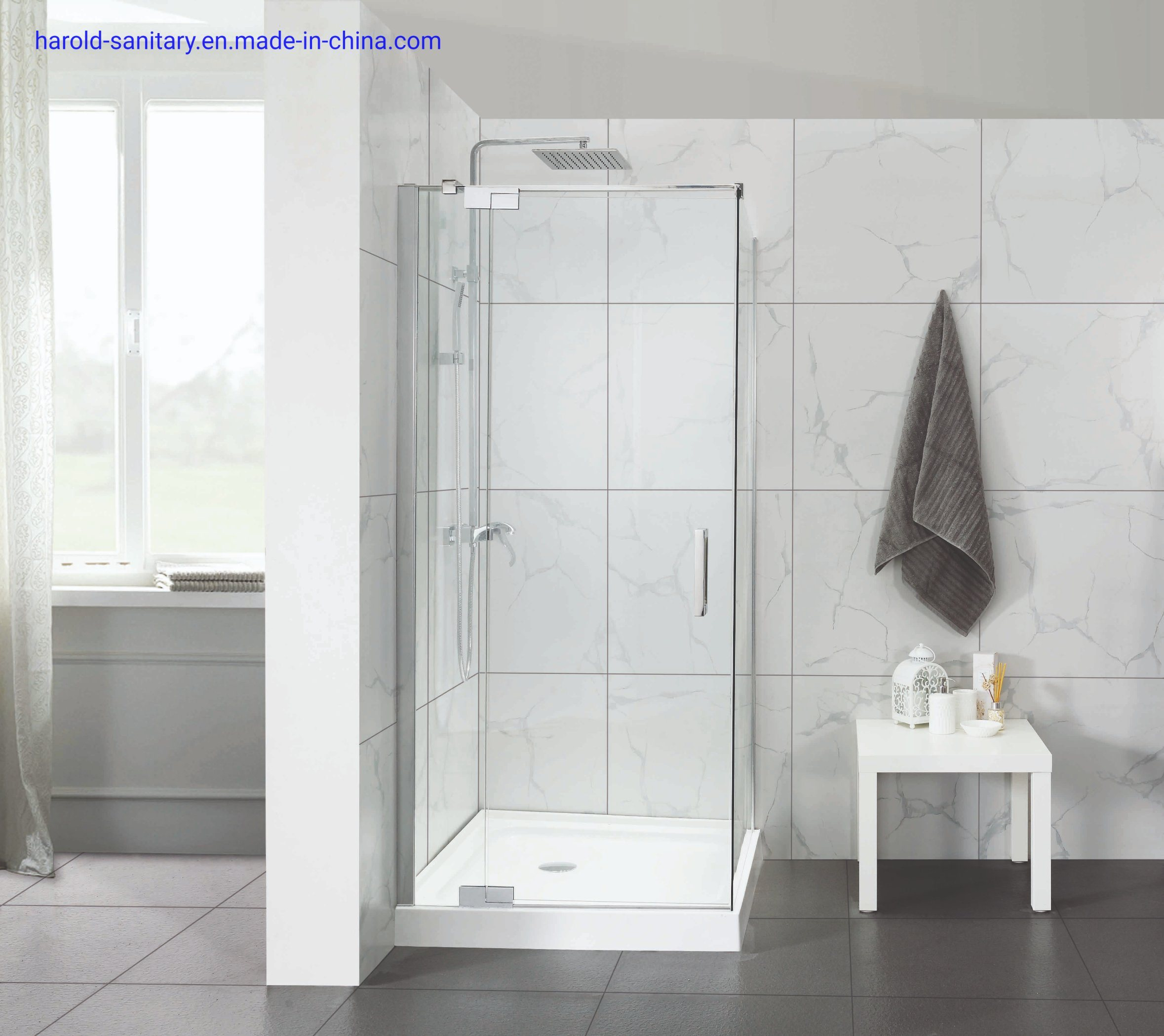 China Semi Frameless Hinge Shower Door With Support Bar