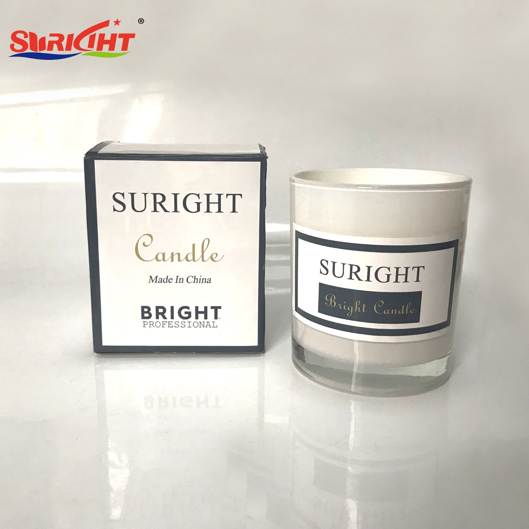 [Hot Item] 11oz Gift Set Glossy White Glass Tumbler Soy Wax Candle with  Private Logo