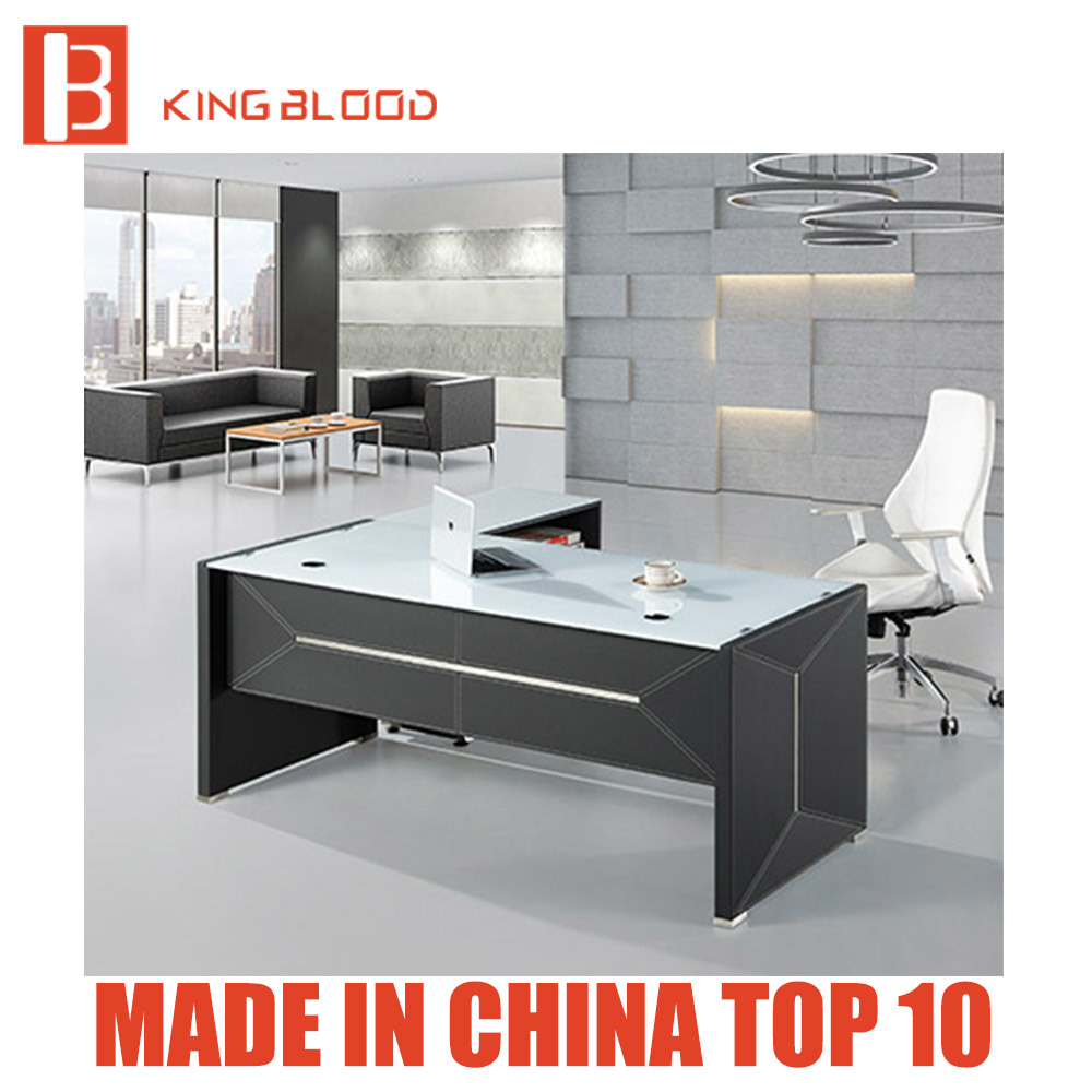 [Hot Item] New Style Modern Leather MDF Glass Office Table