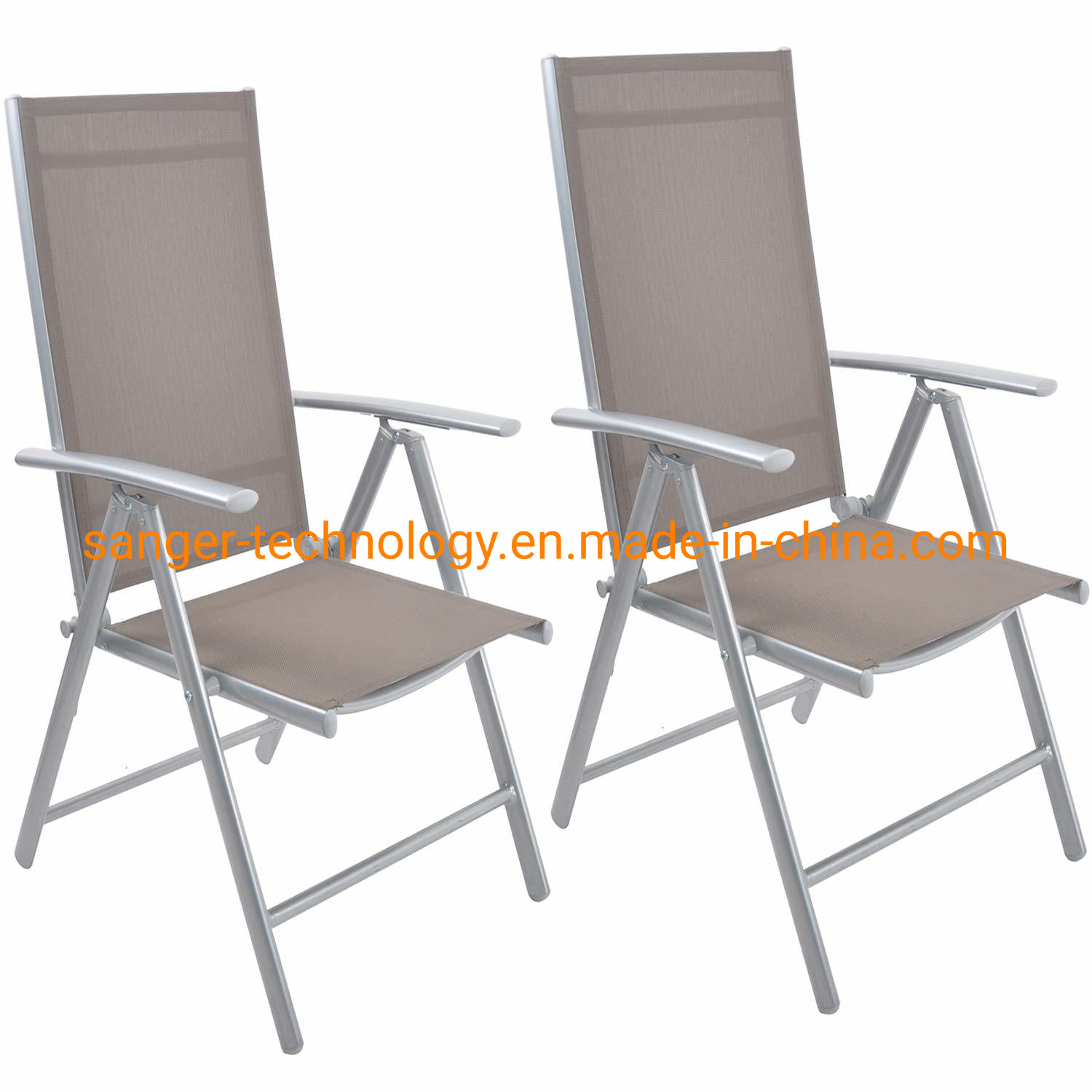 Hot Item Folding Sling Chair Patio Adjustable Reclining Back Sturdy Aluminum Frame With Armrest Indoor Outdoor Furniture Garden Pool Bench Gary