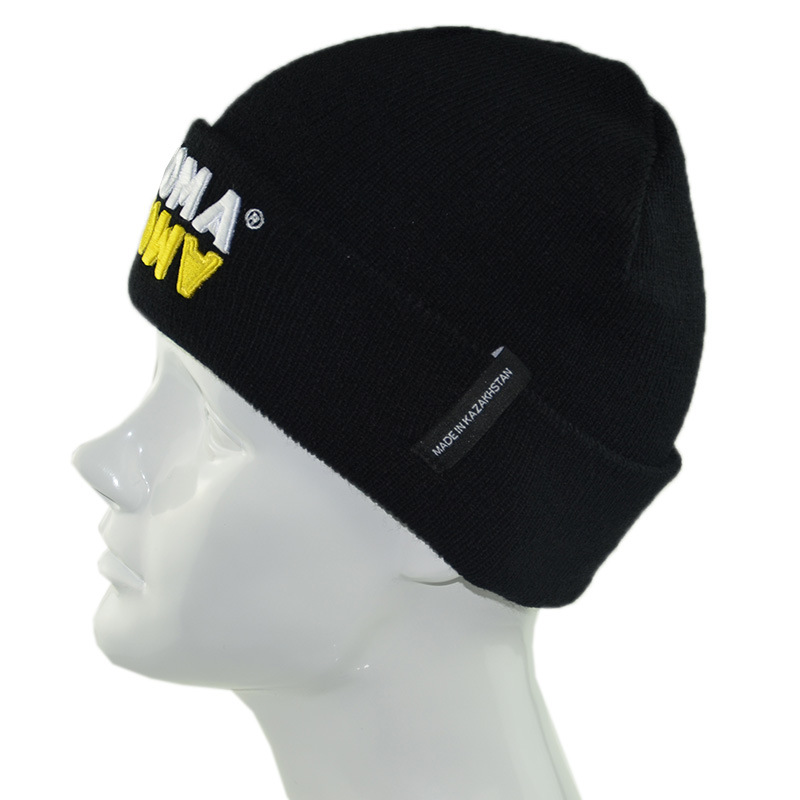 19d2c265d75 Custom 3D Embroidered Sports Cap Black Winter Man Women Acrylic Knitted Beanies  Hats