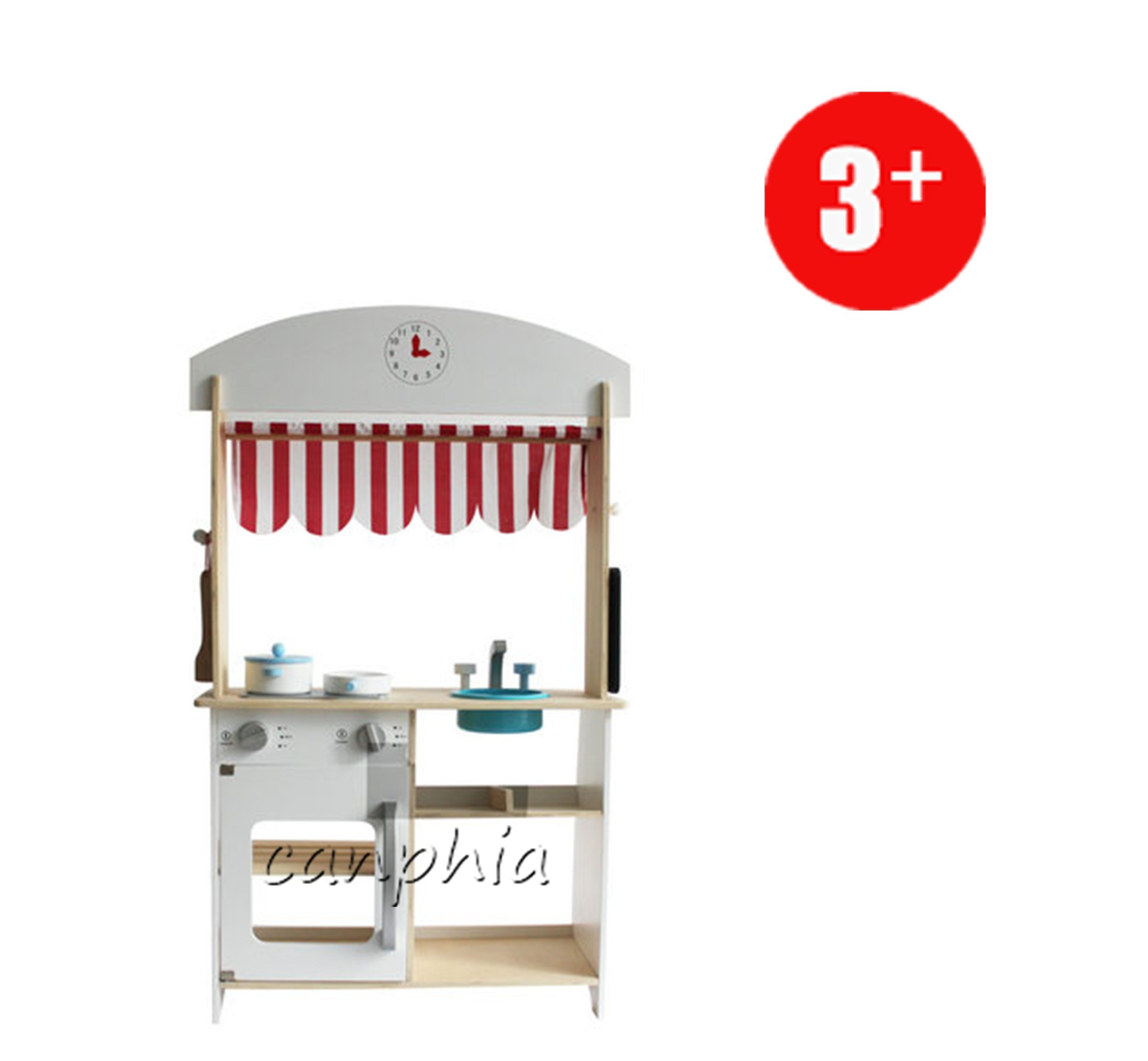 China Wooden White Grocer Kitchen Pretend Playset, Wooden Shop Role ...