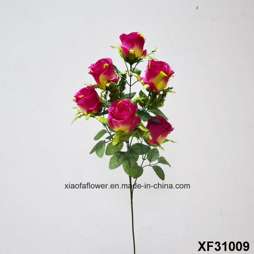 China Artificialplasticsilk Flower Single Stem Of Rosebud Xf31009