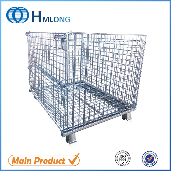 China Warehouse Storage Stacking Collapsible Metal Wire Cage - China ...