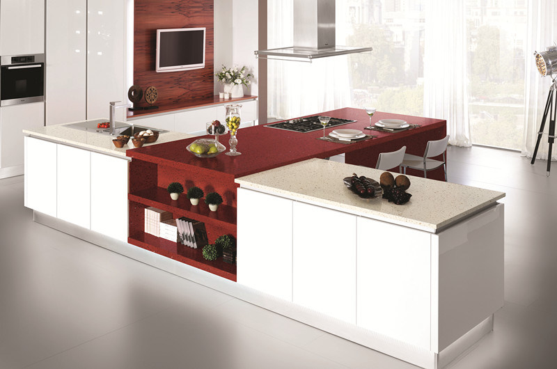 Sf 1801 Crystal Red Quartz Countertop