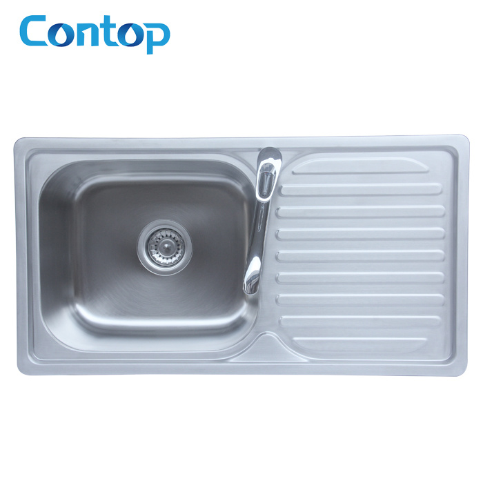 Hot Item Stainless Steel Kitchen Single Bowl Sink With Drainer 7138dt