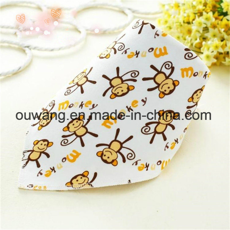 Hot Selling Cute Printed Water Absorb Organic Cotton Bandana Bibs pictures & photos